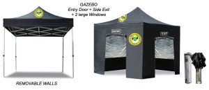 Opt02 - Gazebo 4x4m with Frontside Door and Side Exit